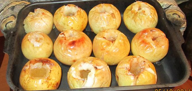 Печёные яблоки без начинки в духовке